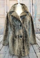 BLANC NOIR sz M soft faux fur gray & black  winter coat