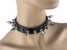 Spike Choker Necklace Collar Leather Punk Rock Gothic Rockabilly Thrash Metal