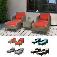 5pc Outdoor Patio Furniture Set Rattan Wicker Conversation Sofa w/ Ottoman