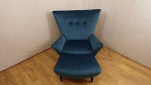 Retro Vintage Wingback Chair in Teal with Footstool