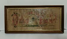 Victorian Punch Paper Sampler Embroidered Motto The Old Oaken Bucket
