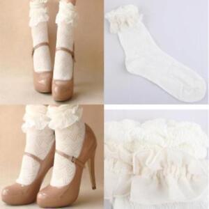 New Women Lady Girls Ankle Fancy Retro Lace Ruffle Frilly School Short Socks
