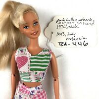 BARBIE Doll Blonde Hair With Bangs JOINTED SOCCER Push Button Magnet Hand