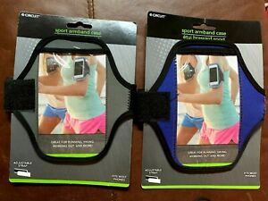 TWO Universal Sports Running Arm Band Phone Case Holster Adjustable BLUE & GRAY