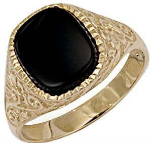 Gent's 9ct Yellow Gold Patterned Sides Onyx Men's Ring  - UK Jewellers