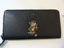 NWT Baseman X Coach Accordion Zip Wallet in Polished Pebble Leather F57390-Black