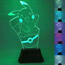 Pokemon GO Pikachu 3D LED Nightlight 7 Color Touch Control Desk Light Table Lamp