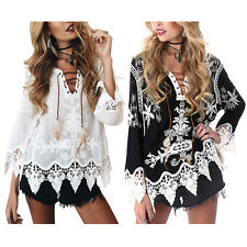 Women Hippie Boho Bell Sleeves Gypsy Festival Holiday Lace Bohemian Tops Blouse