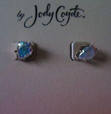 Jody Coyote Earrings JC0546 new hypoallergenic teardrop stud post iridescent P