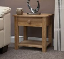 Kingston solid modern oak furniture small lamp table with drawer