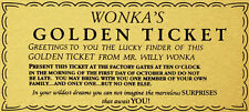 A4 willy wonka ticket doré papier Gaufrette Comestibles Anniversaire Cake Topper
