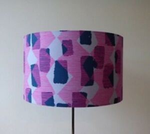 Handmade Drum Lampshade In 'Tilli Rain' Cotton Fabric By Bookhou For Free Spirit