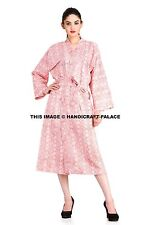 Indian Block Print Cotton Long Kimono Hippie Dress Bath Robe Nighdress Sleepwear