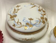 Antique French Enameled Hand Painted Gold Marked Fine Porcelain Large Powder Jar