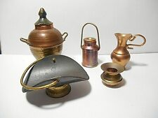 Lot Of 9 Pieces Vintage Copper & Brass Doll House Cottage Miniatures