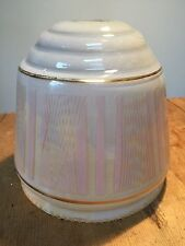 """VINTAGE  PINK/WHITE GLASS PENDANT SHADE  5 1/2"""" X 5 1/2"""""""