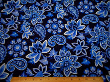 Cotton Fabric By The Yard Blue White Paisley Floral on Navy Blue Quilting