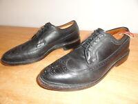 Men's Black Pebbled Leather ALLEN EDMONDS MacNeil Wingtip Dress Oxfords Sz-9.5C