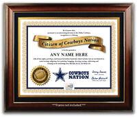 DALLAS COWBOYS NATION NFL Football Fan Certificate Diploma GREAT XMAS GIFT