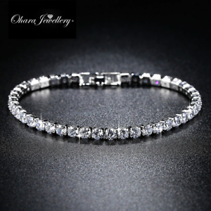 White & Yellow Gold Cubic Zirconia CZ Crystal Silver Tennis Bracelet Jewellery