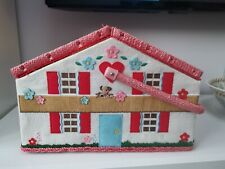 Cath Kidston Rare Chalet Cottage House Sewing Basket Box Red Gingham Storage