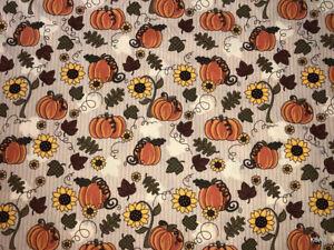 Autumn Harvest Pumpkin Sunflower Fall Leaves Thanksgiving Harvest Tan Valance