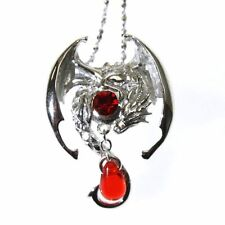 Fafnir Sterling Silver 925 Red Crystal Dragon Pendant Necklace Anne Stokes