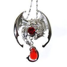 Fafnir plata esterlina 925 Cristal Rojo Collar Colgante de Dragón Anne Stokes