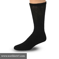 Best Quality 12 pair mens black Diabetic crew socks king size 13-15(MADE IN USA)