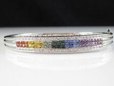 Sapphire Diamond Bracelet 14K Bangle Rainbow 4.15ctw White Gold Invisible Set
