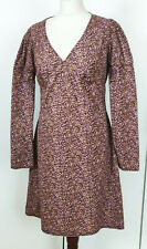 TOPSHOP Ladies Fit & Flare Long Puff Sleeve Knee Length Floral Dress Size UK 14