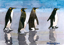 ACEO Limited Edition-A parade, Penguin, Art print of a watercolor