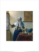 JOHANNES VERMEER WOMAN WATER JUG BIG BORDERS LIMITED EDITION ART PRINT 18X24