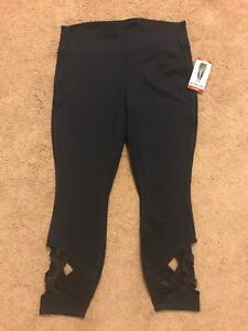 $79 ACTIVE LIFE Navy Yoga Workout Lattice Detail At Bottom Capri Pant Size XL