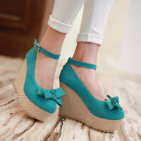Women Wedge Platform Round Toe Shoes Ankle Strap Woven Bow High Heel All Size