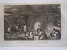 gravure 19° voyage Cook : Intérieur d'une maison de l'entrée de Nootka Canada