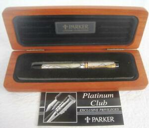 Parker Roller Ball Duofold Pen Pearl Med Refill Black Ink NIB Wood Box Plate UK