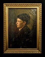 LATE 19TH CENT. PERIOD O/C PORTRAIT BOSTON VICTORIAN LADY, W/ORIG FRAMER'S LABEL