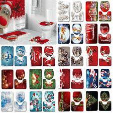 Feliz Navidad Conjunto bathromm 3Pcs Cubierta de asiento de inodoro Santa Estera de Ducha Decoración de Navidad