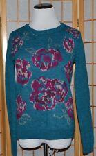 NEW Garnet Hill Wool/Alpaca Blend Teal & Pink Floral Sweater  sz. XS