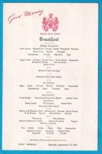 Original Royal Mail Line R.M.S. ARAGON  Breakfast MENU
