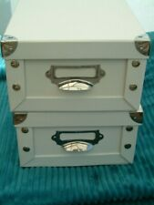 Two Storage Boxes-Collapsible-Lidded-Metal Corners. Good Condition. White