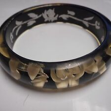 Old Plastic Bangle Bracelet Reversed Carved ( Black )