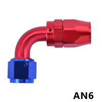 Red&Blue AN6 -6AN Elbow 90 Degree Swivel Gas Oil Fuel Line Hose End Fitting