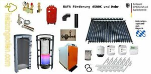 Scheitholzvergaserkessel Set 25KW mit Solaranlge  Zubehör mit BAFA   Holzkessel+