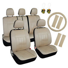 Auto Car Seat Cover Set 17pcs Beige Seat Belt Pads, Steering Wheel Cover