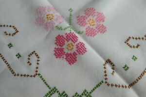 Vintage/Retro c1950's Hand Embroidered Cotton Blend Cross Stitch Tablecloth