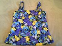 Lands End 18D Tankini Swimsuit Top Underwire Blue Floral Womens Swim