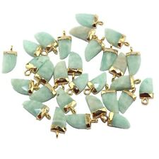 Tiger Nail Natural Green Amazonite Gold Plated Necklace Earring Connector 1pcs