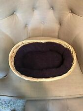 Dog Bed for Small Dogs - Plum Colored Cushion w/ Wooden Basket - Great Condition
